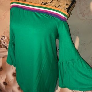 Green Retro Off Shoulder Striped Bell Sleeve Top